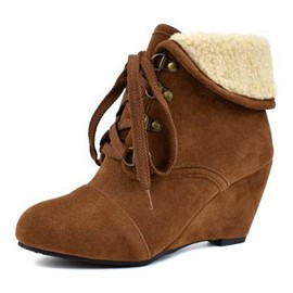 Ericdress Plain Round Toe Lace-Up Front Wedge Heel Women's Boots