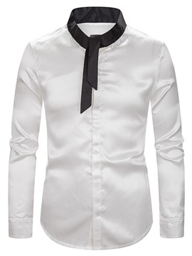 Ericdress Color Block Casual Stand Collar Men's Slim Shirt