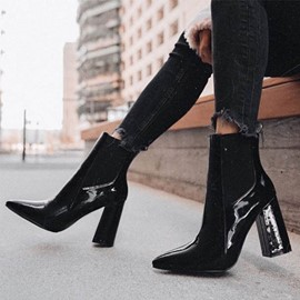 Ericdress PU Back Zip Chunky Heel Pointed Toe Women's Ankle Boots