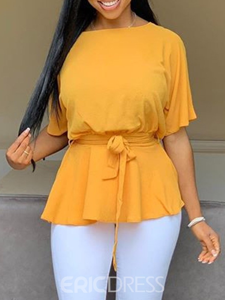 Ericdress Batwing Sleeve Lace-Up Round Neck Plain Standard Yellow Blouse