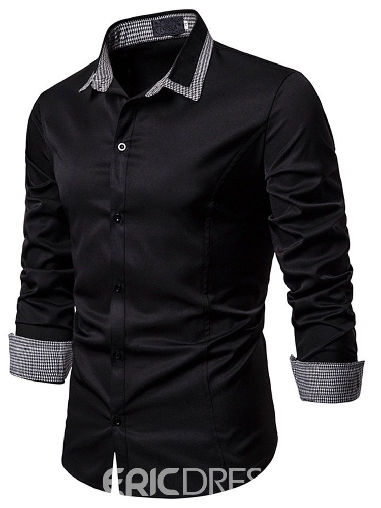 Ericdress Button Lapel Slim Men's Single-Breasted Shirt