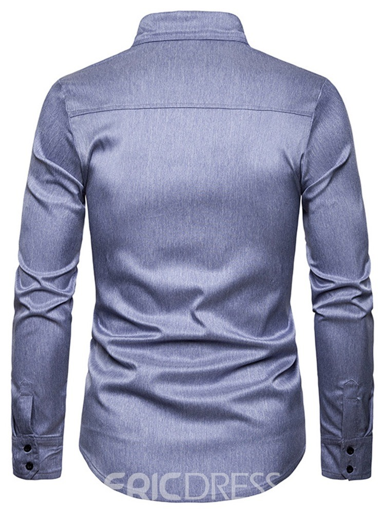 Ericdress Casual Lapel Plain Men's Single-Breasted Shirt