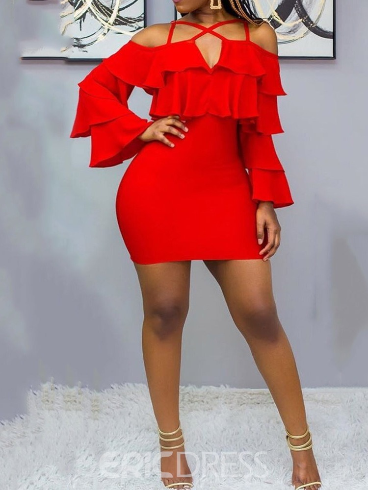 Ericdress Flare Sleeve Cold Shoulder Above Knee Sexy Bodycon Red Dress