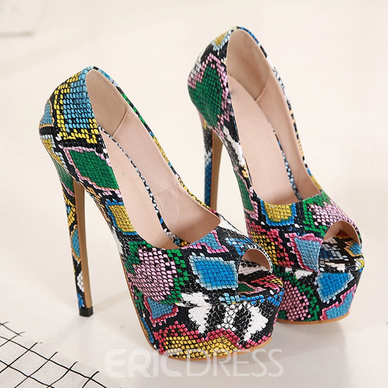 Ericdress Peep Toe Stiletto Heel Color Block Women's Pumps