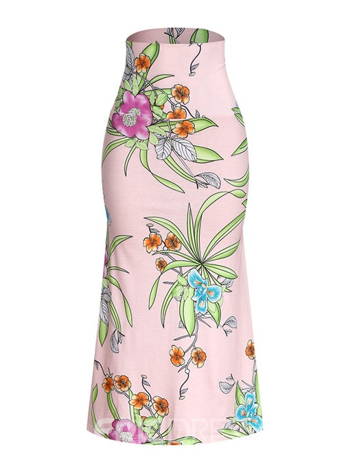Ericdress Floral Print Ankle-Length Fashion Skirt