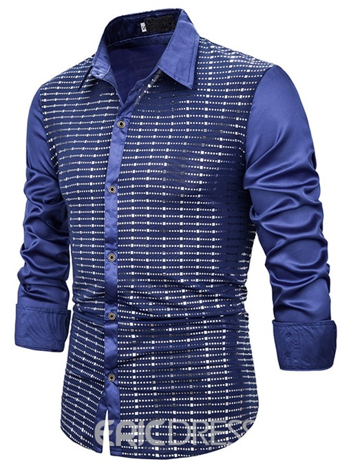 Ericdress Button Casual Single-Breasted Men's Slim Shirt