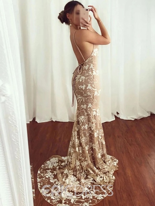 Ericdress Spaghetti Straps Mermaid Lace Backless Evening Dress