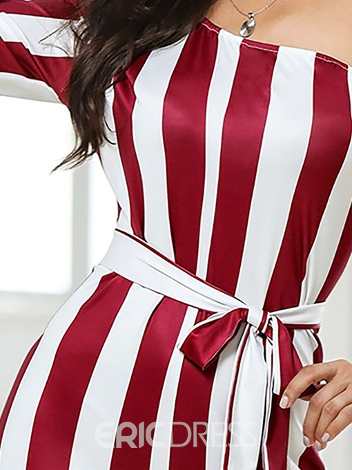 Ericdress One Shoulder Stripe Lace-Up Full Length Straight Slim Jumpsuit