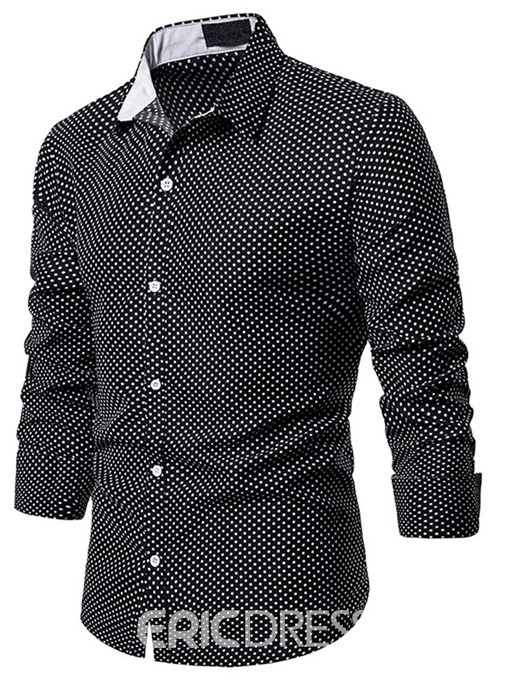 Ericdress Polka Dots Lapel Casual Men's Single-Breasted hirt