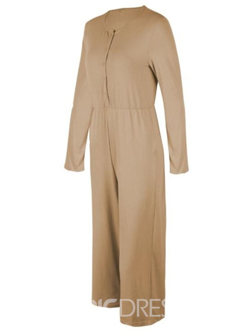 Ericdress Mid-Calf Casual Plain Straight Loose Jumpsuit