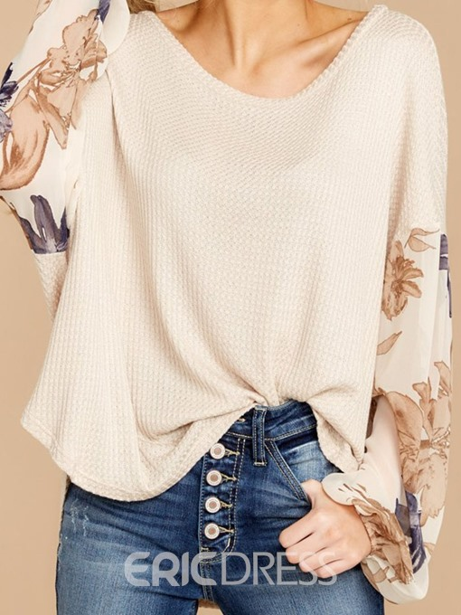 Ericdress Mid-Length Round Neck Plant Loose Winter T-Shirt