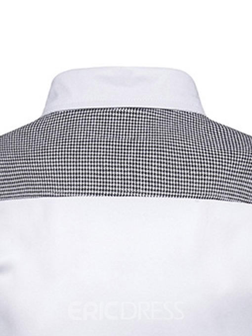 Ericdress Button Houndstooth Lapel Men's Slim Shirt