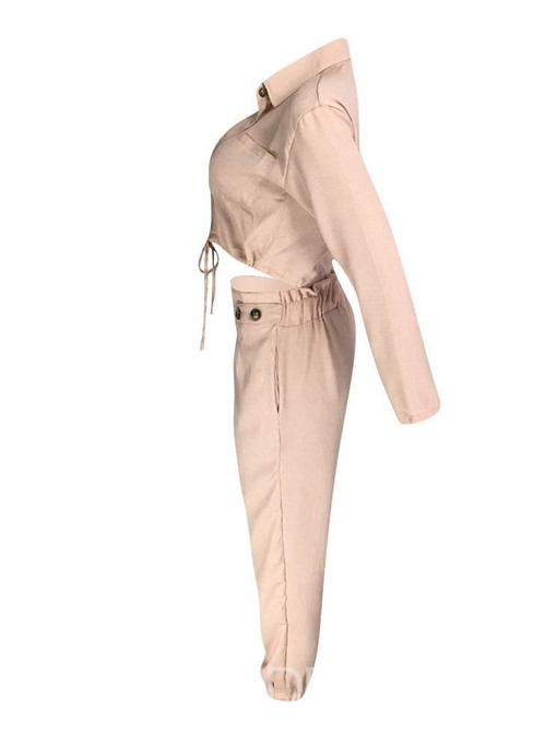 Ericdress Plain Pocket Single-Breasted Lapel Two Piece Sets