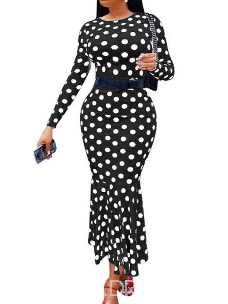 Ericdress Ankle-Length Round Neck Nine Points Sleeve Date Night/Going Out Mid Waist Bodycon Dress