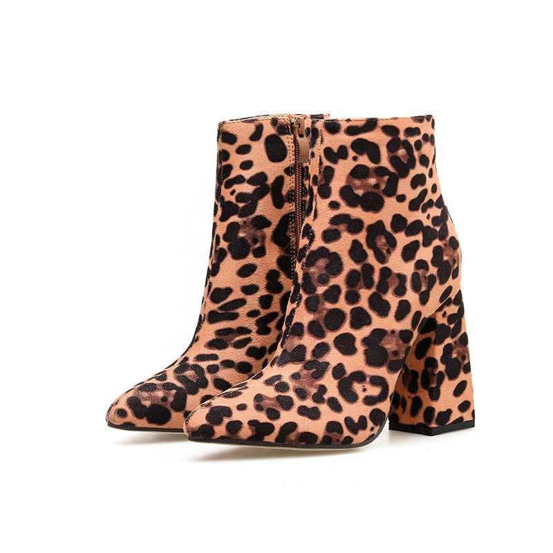 Ericdress Leopard Print Chunky Heel Pointed Toe Side Zipper Women's Ankle Boots