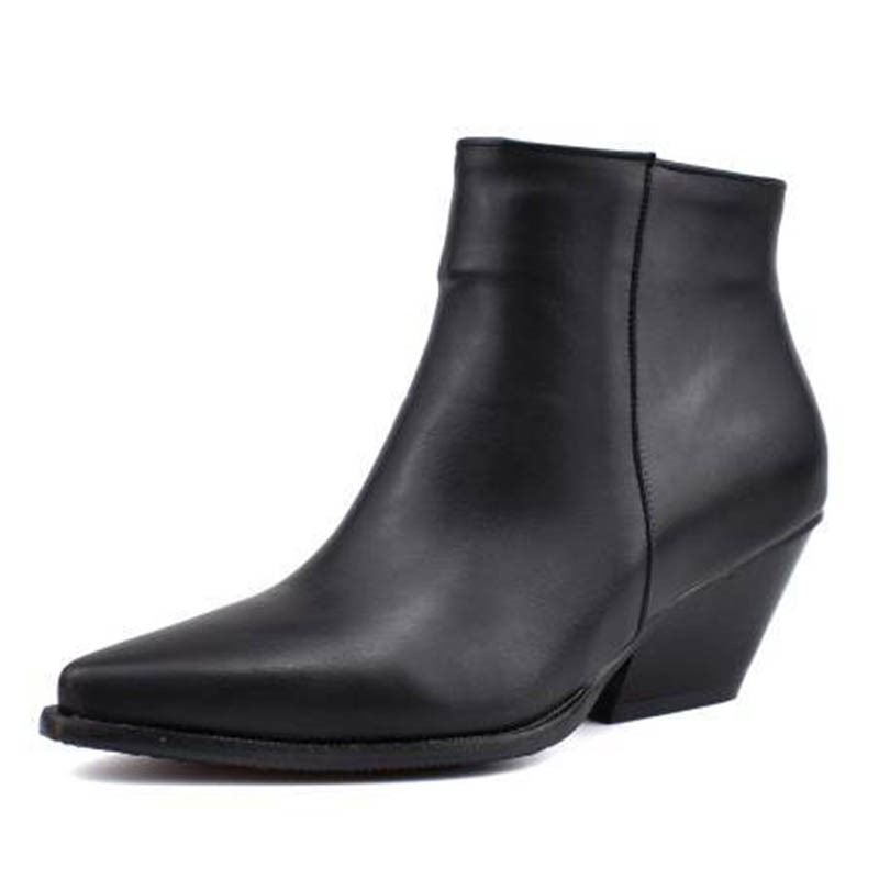 Ericdress Serpentine Side Zipper Pointed Toe Chunky Heel Women's Ankle Boots