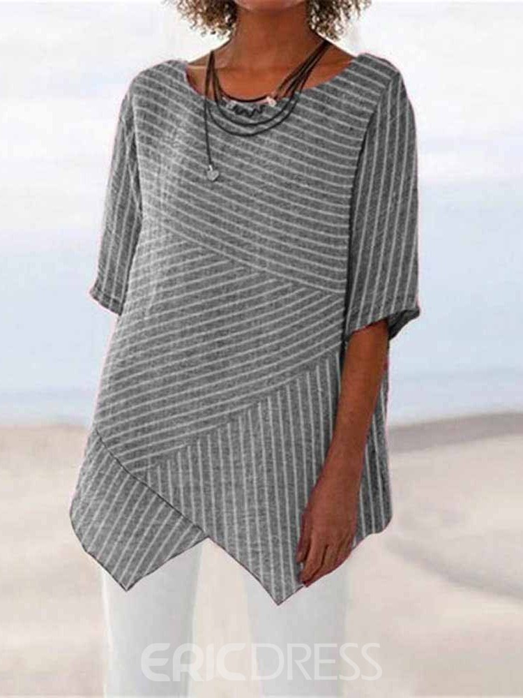 Ericdress Round Neck Stripe Mid-Length Loose T-Shirt