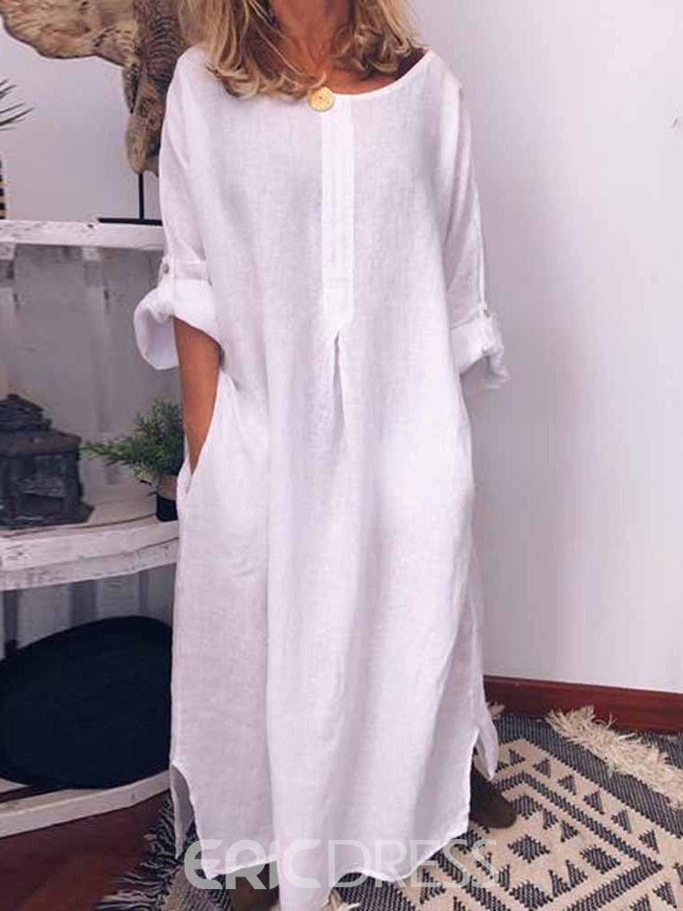 Ericdress Round Neck Ankle-Length Long Sleeve Fall Pullover Dress