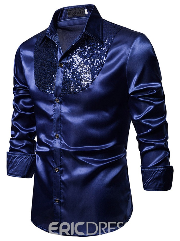 Ericdress Lapel Fashion Plain Men's Slim Shirt