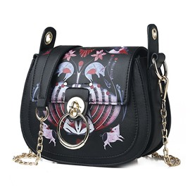 Ericdress PU Lock Cartoon Saddle Crossbody Bags