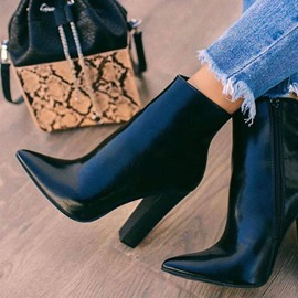 Ericdress PU Side Zipper Pointed Toe Chunky Heel Women's Boots