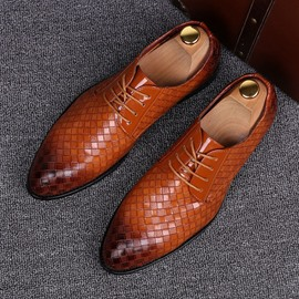Ericdress Plaid Lace-Up Pointed Toe Men's Dress Shoes
