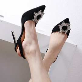 Ericdress Rhinestone Stiletto Heel Slingback Strap Slip-On Women's Pumps