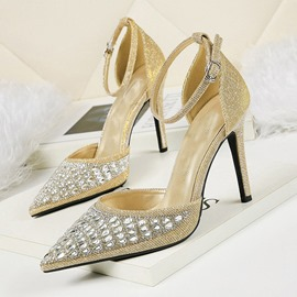 Ericdress Rhinestone Pointed Toe Buckle Stiletto Heel Women's Pumps