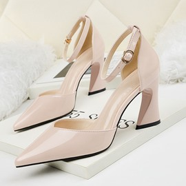 Ericdress PU Pointed Toe Chunky Heel Buckle Women's Pumps