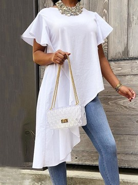 Ericdress Asymmetric Plain Long Short Sleeve White Blouse