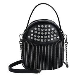 Ericdress PU P Rhinestone Barrel-Shaped Tote Bags