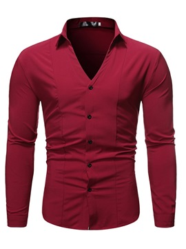 Ericdress Button Plain Lapel Slim Men's Single-Breasted Shirt