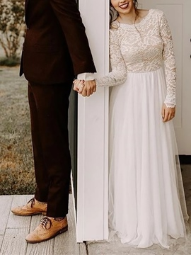 Ericdress Long Sleeve Lace Beach Wedding Dress 2019