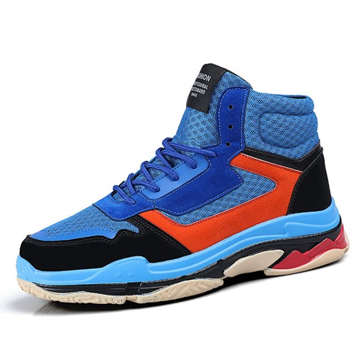 Ericdress Color Block High-Cut Upper Lace-Up Round Toe Men's Sneakers