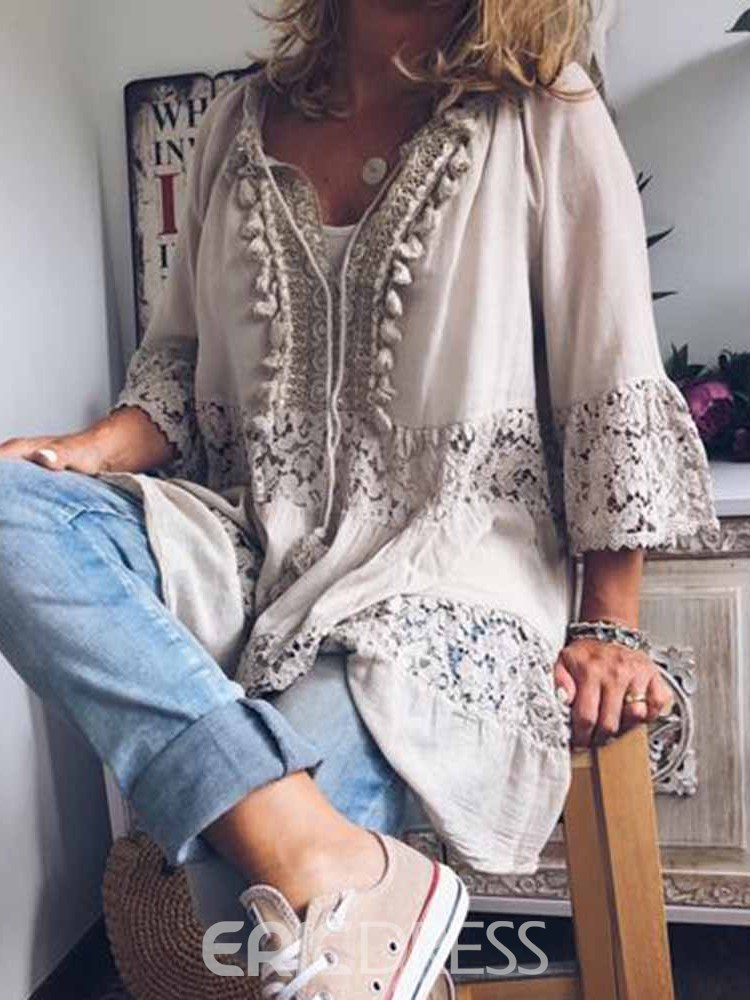 Ericdress Lace Plain Mid-Length Three-Quarter Sleeve Fashion Blouse