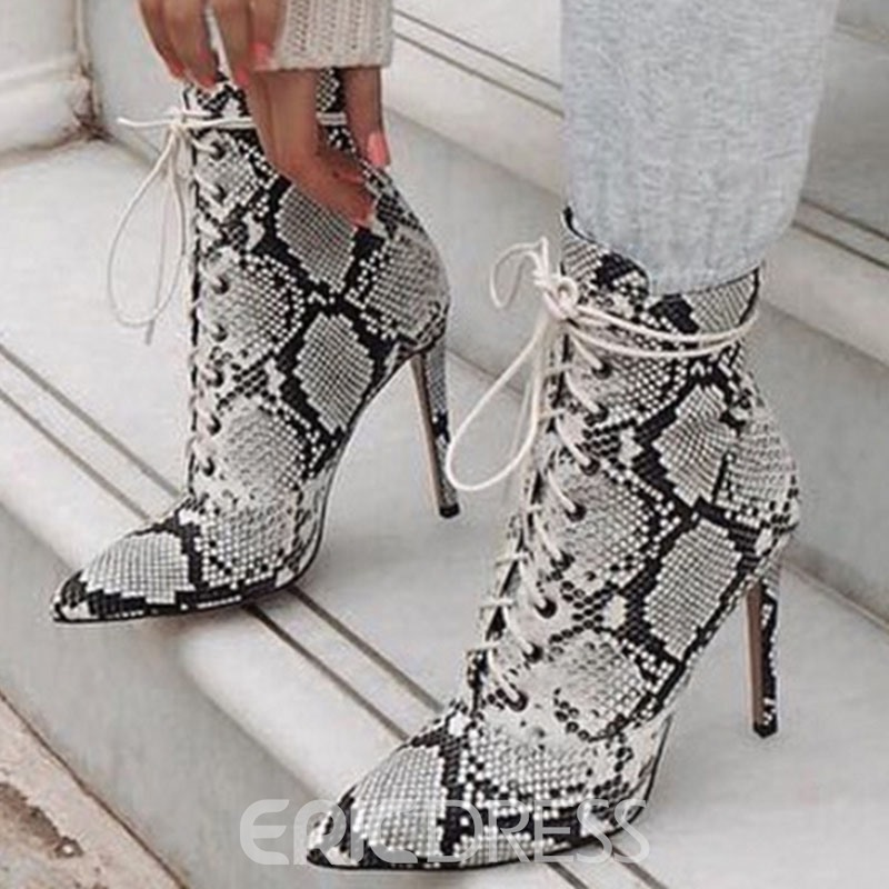 Ericdress Serpentine Pointed Toe Lace-Up Front Color Block Women's Ankle Boots