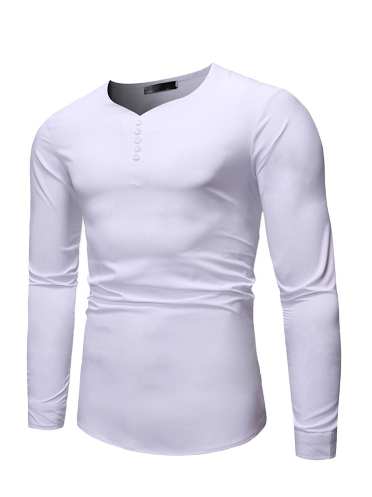 Ericdress Plain V-Neck Button Men's Slim Shirt
