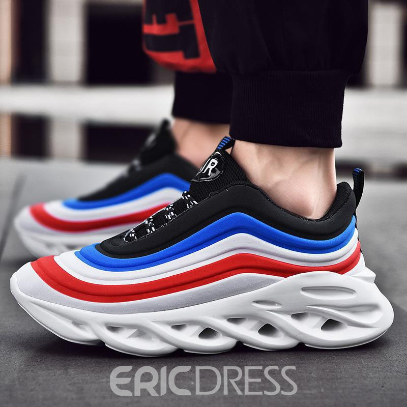 Ericdress Color Block Simple Lace-Up Round Toe Men's Sneakers
