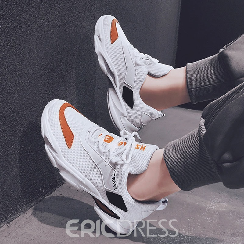 Ericdress Mesh Patchwork Lace-Up Sneakers For Men