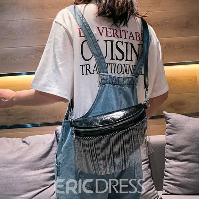 Ericdress PU Plaid Fringe Thread Saddle Crossbody Bags