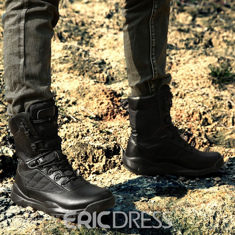 Ericdress Round Toe Lace-Up Front Plain Men's Snow Boots