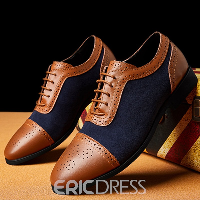 Ericdress Patchwork Low-Cut Upper Lace-Up Men's Oxfords