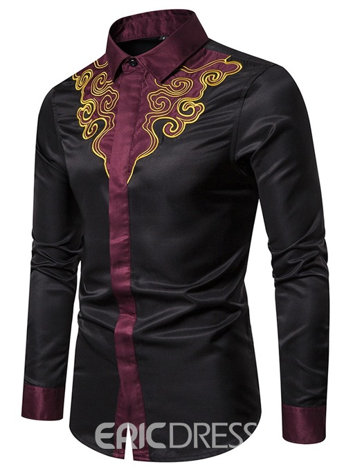 Ericdress Color Block Fashion Patchwork Men's Single-Breasted Slim Shirt