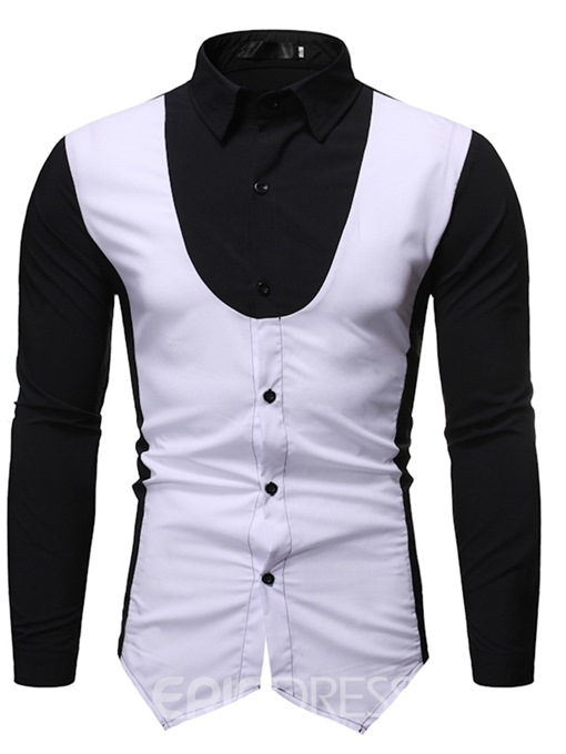 Ericdress Fashion Color Block Button Men's Single-Breasted Shirt