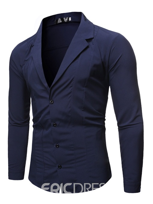 Ericdress Fashion Plain Notched Lapel Single-Breasted Men's Slim Shirt