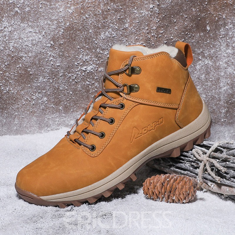Ericdress Lace-Up Simple Men's Snow Boots