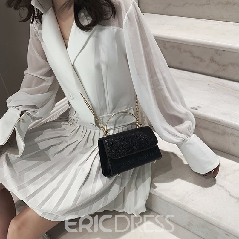 Ericdress PU Plain Chain Rectangle Tote Bags