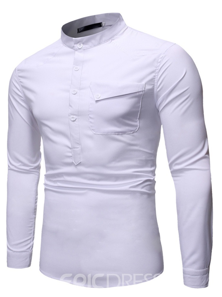 Ericdress Button Plain Fashion Slim Men's Summer Shirt