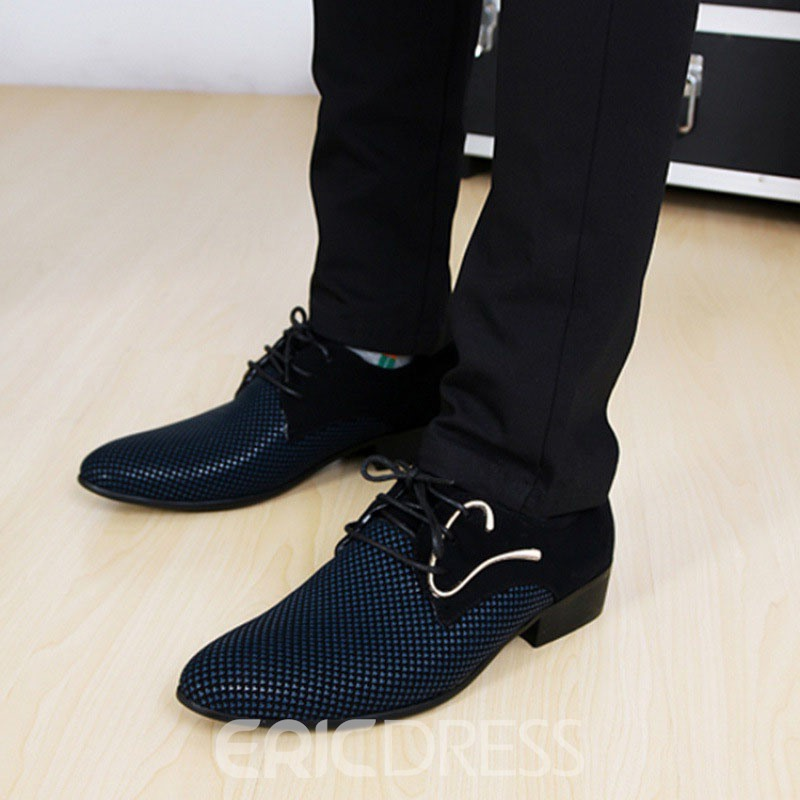 Ericdress Color Block Lace-Up Pointed Toe Men's Dress Shoes