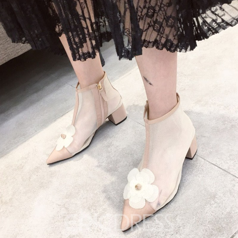 Ericdress Floral Chunky Heel Side Zipper Women's Ankle Boots